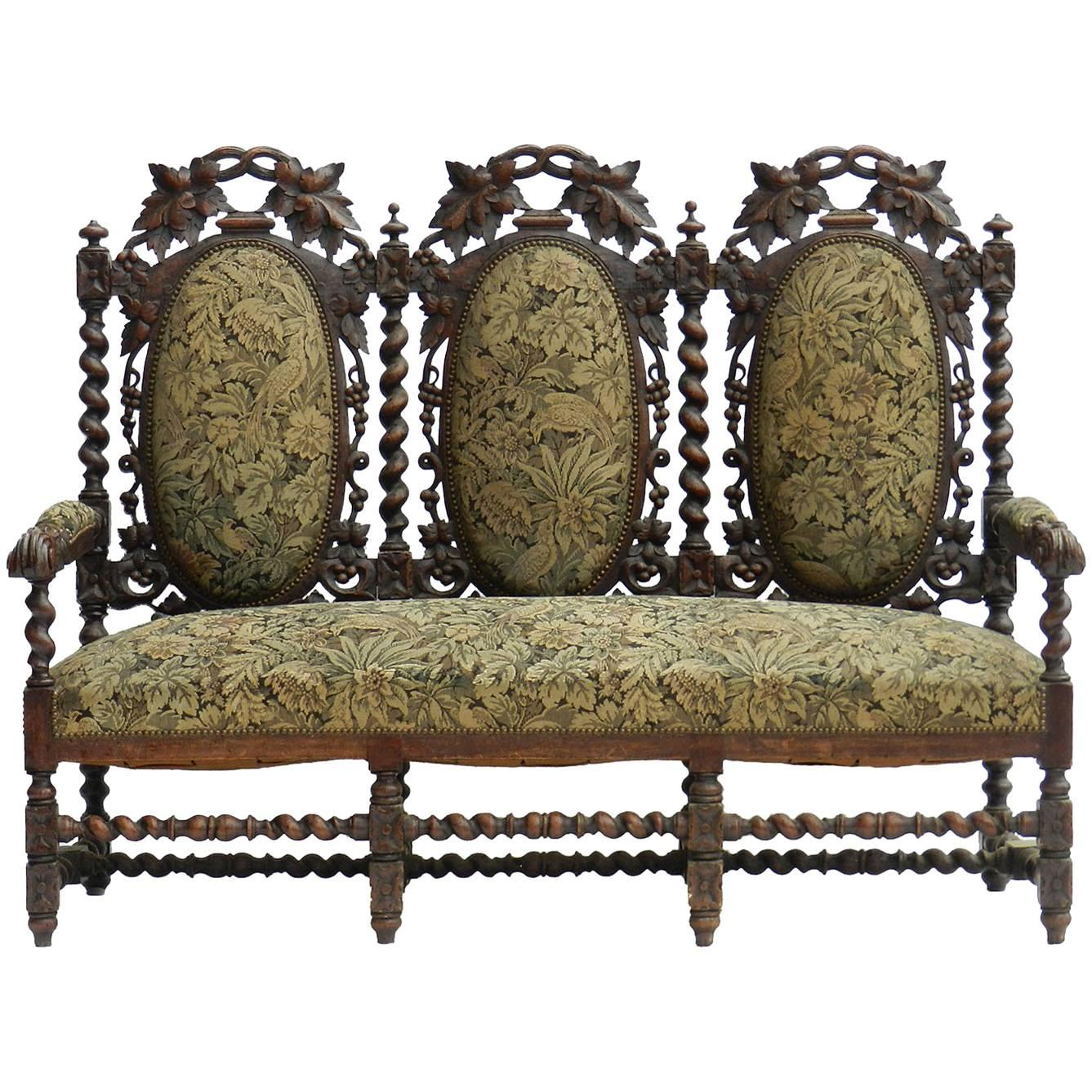 French Sofa 19th Century Louis XIII, Country House Canape Oak Medallion  Back For Sale