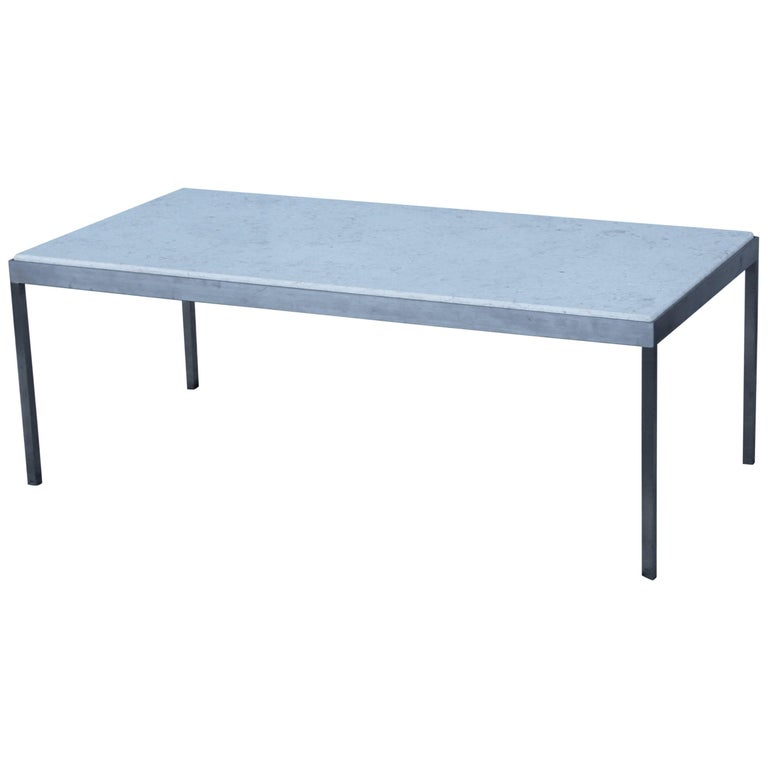 1970s Italian Brushed Steel with Marble Top Coffee Table