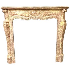 Antique Victorian French Marble Fireplace Surround