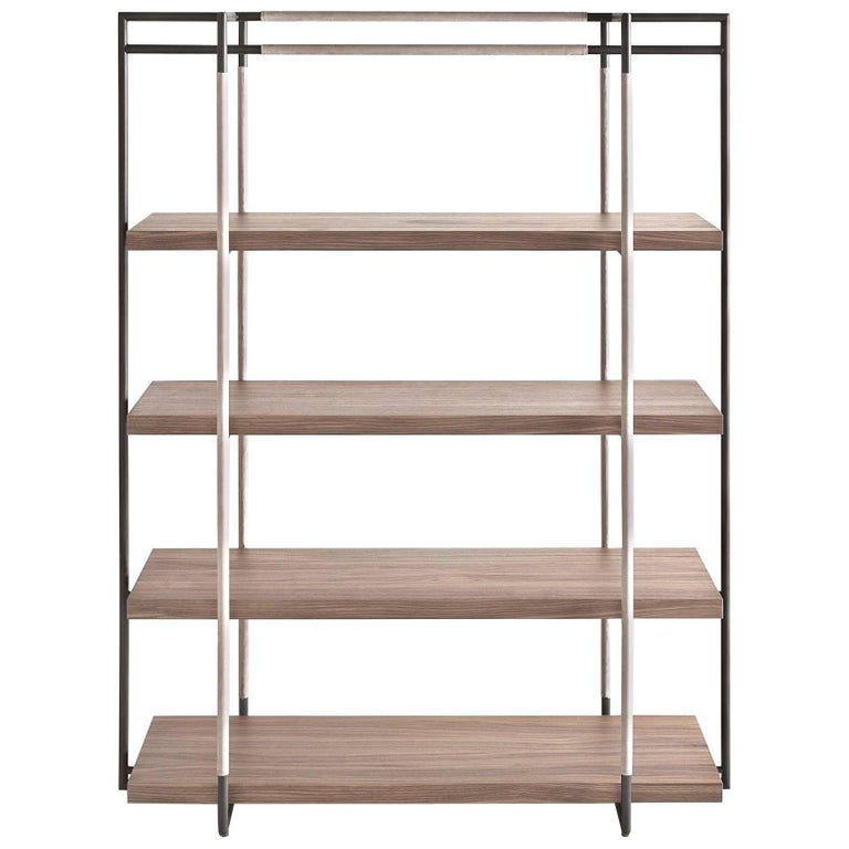 Bak Bookcase by Ferruccio Lavi in Walnut, Steel and Leather in Various Colors For Sale