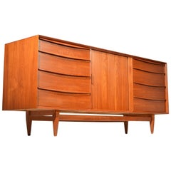 Large Danish Teak Dresser with a Tambour Door by Falster