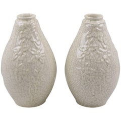 A Pair of Saint Clement French Art Deco Crackle Ceramic Vase