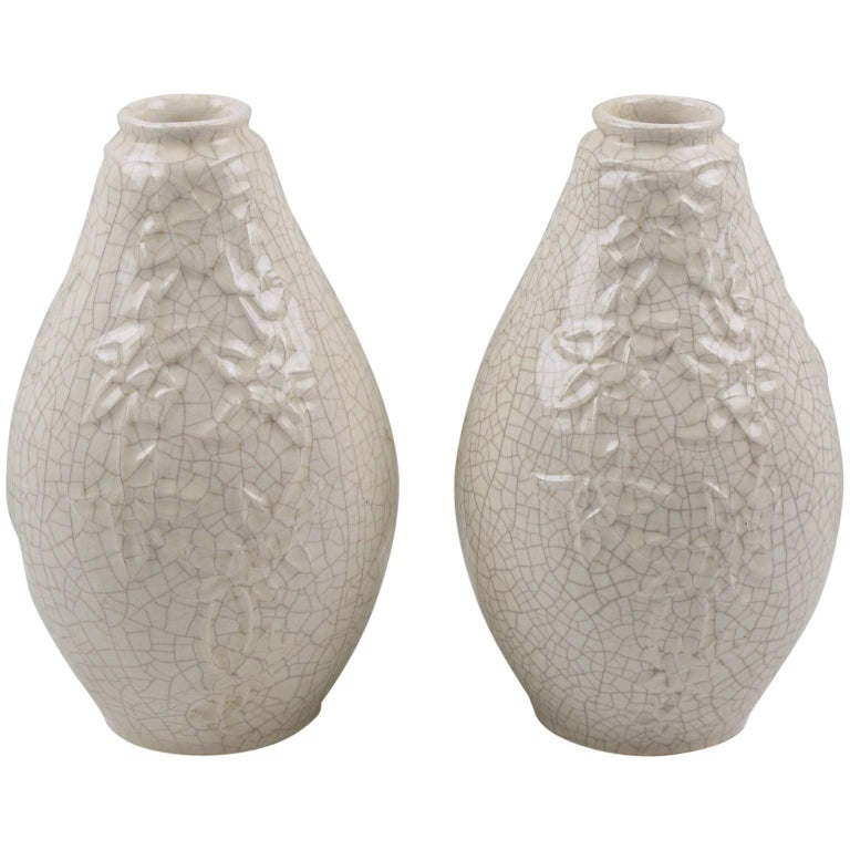 Pair of French Art Deco Crackle Ceramic Vase by Saint Clement
