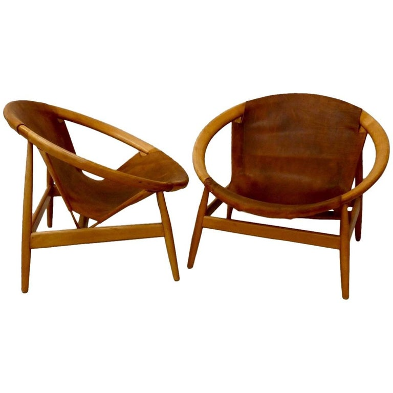 Pair of Illum Wikkelso Leather Covered Ringstol or Hoop Chairs For Sale