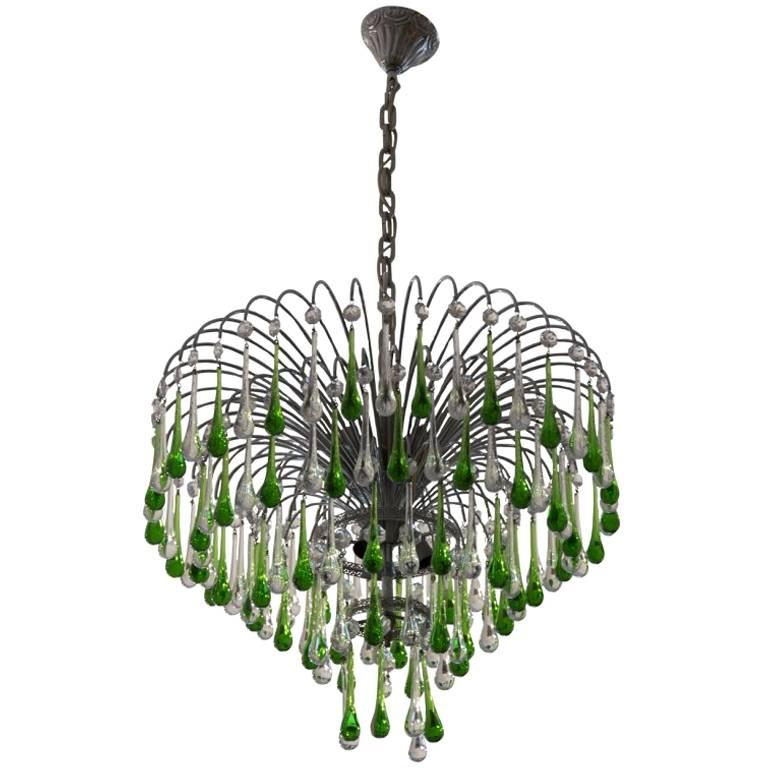 Italian Murano Crystal Teardrop Waterfall Chandelier S For Sale - Chandelier crystals teardrop