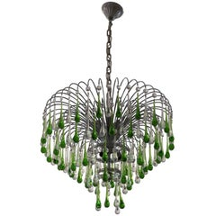 Italian Murano Crystal Teardrop Waterfall Chandelier, 1950s