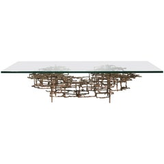 "Daniel Gluck ""The Maze"" Brutalist Coffee Table in Bronze"