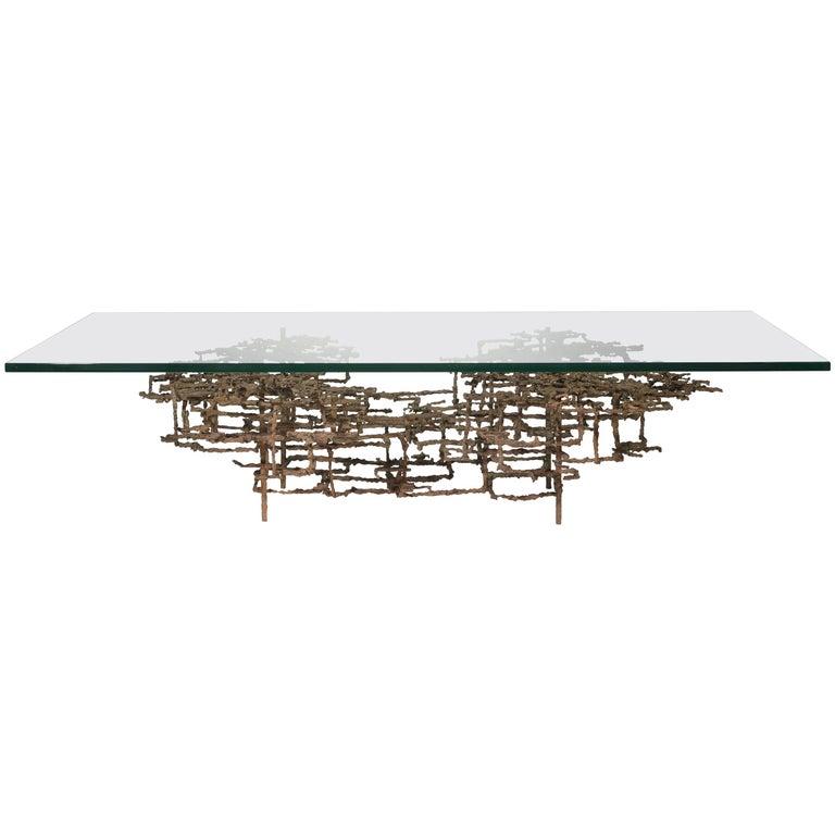 "Daniel Gluck ""The Maze"" Brutalist Coffee Table in Bronze"