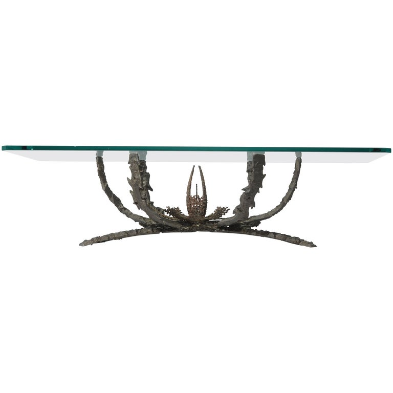 Daniel Gluck Brutalist Coffee Table in Bronze and Iron