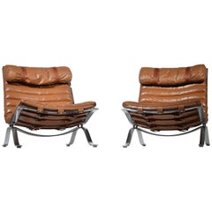 Arne Norell Ari Easy Chairs in Cognac Leather by Norell AB in Sweden