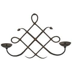 Italian Modarchitectura Wrought Iron Wall Mounted Candleholder Sconce