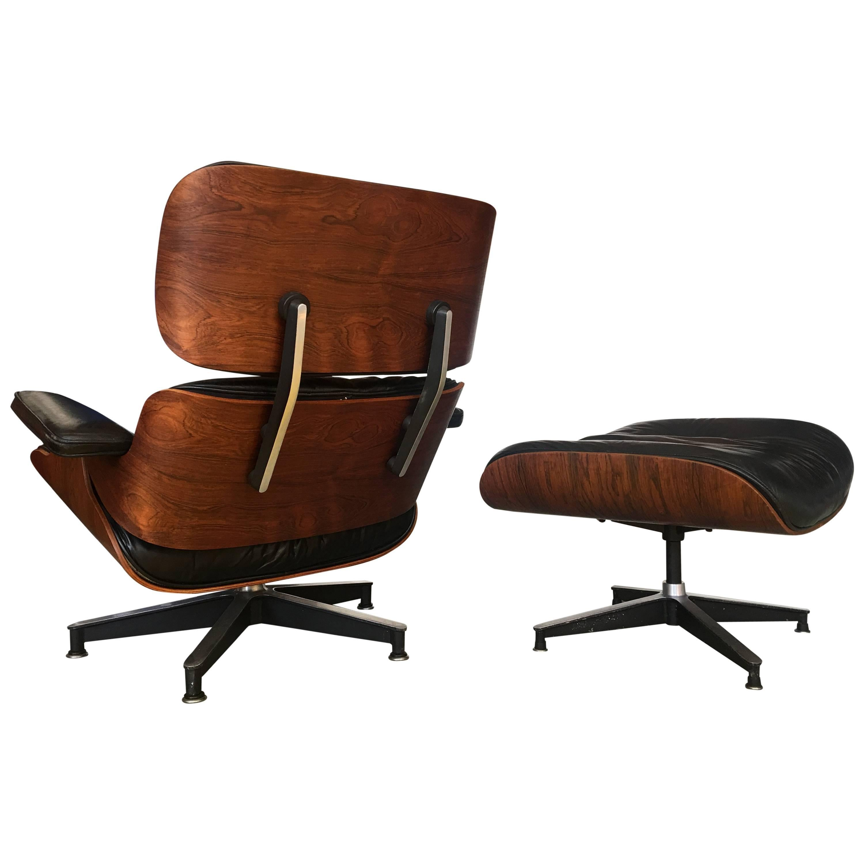 Etonnant Rare 1st Year 1956, Eames Lounge With Spinning Ottoman For Sale