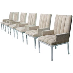 Milo Baughman Armchairs Design Institute of America Chrome & Suede
