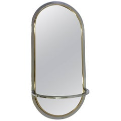 Chrome and Brass Wall Mirror by Milo Baughman for DIA