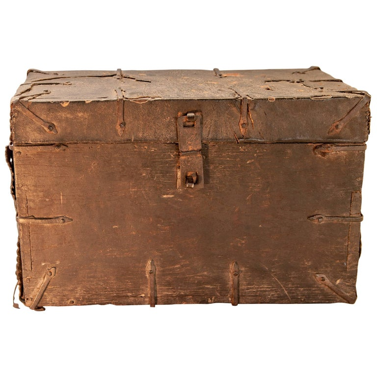 Vintage Wooden and Leather Chest from Tibet, Early-Mid 20th Century.