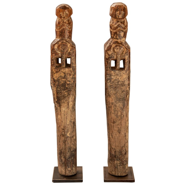 Pair of Carved Wooden Chair Legs, Tharu of Nepal, Early-Mid 20th Century