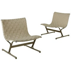 Pair of Armchairs Designed for ICF Steel Manufactured in Italy, 1970s