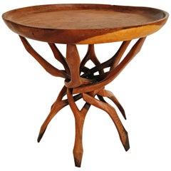 Organic End Table in Teak Sculpted circa 1960