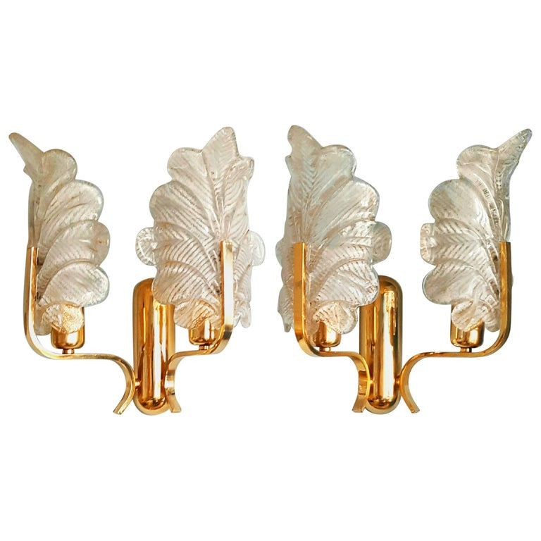 Pair of Large Murano Glass and Brass Sconces 1960s