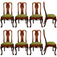 18th Century Set of Eight Cabriole Leg Mahogany Dining Chairs
