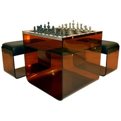 Chess Table in Lucite with Stools Italy