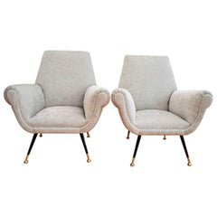 Italian Armchairs Restored in Grey Velvet by Gigi Radice for Minotti, 1950s