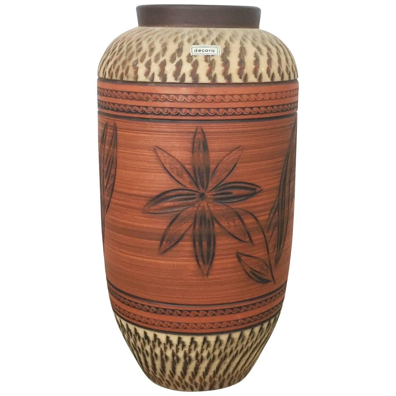 Xxl 36cm vintage handmade ceramic pottery floor vase germany vintage ceramic pottery floor vase by decora ceramic germany 1960s reviewsmspy