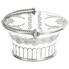 Antique Silver Plated Victorian Sweet Basket 19th Century