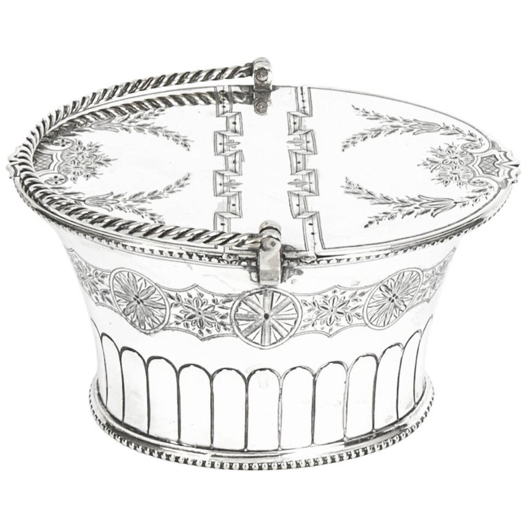 Antique Silver Plated Victorian Sweet Basket 19th Century For Sale
