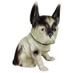 Vintage Porcelain French Bulldog, Boston Terriër Dog Figurine