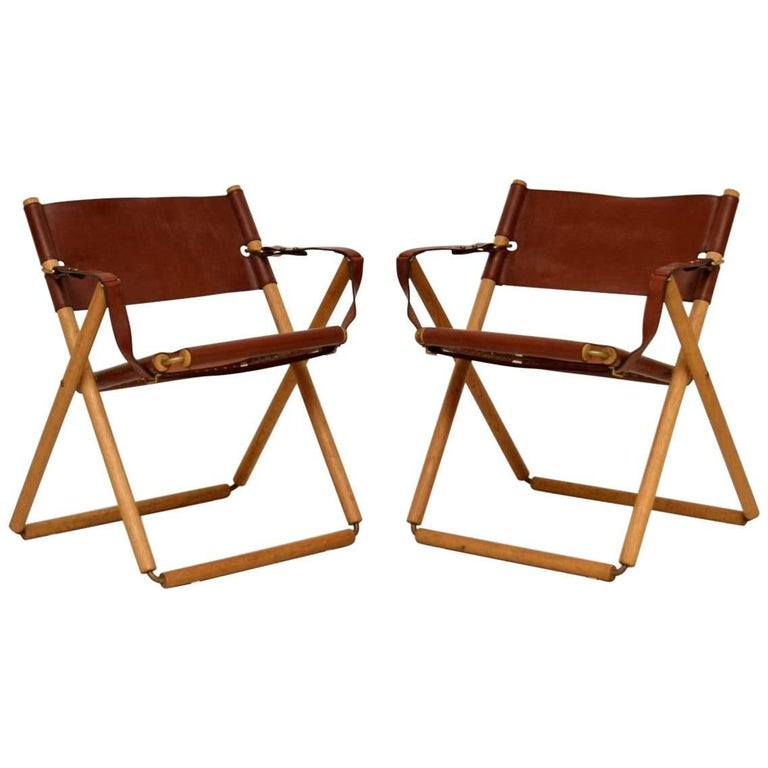 Pair Of Danish Vintage Leather Folding Safari Chairs For