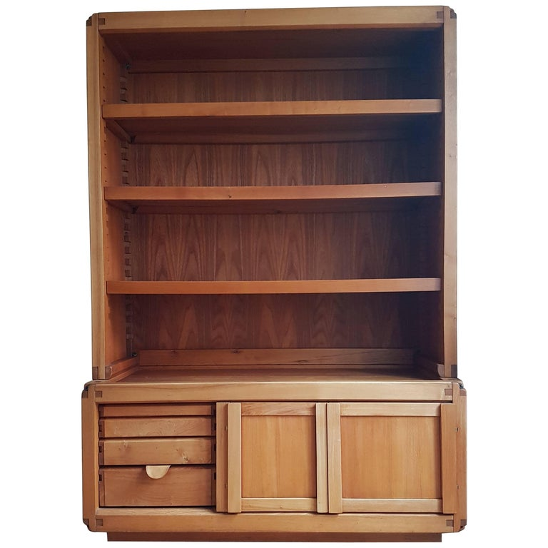 Bookcase Cabinet De Pierre Chapo in French Elm from 1970 For Sale
