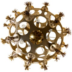 Late 20th Century Space Age Sputnik Chandelier in White, Brass and Murano Glass