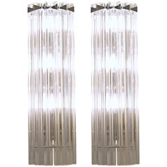 Pair of Murano Triedri Sconces, Clear, Six Elements Camer Glass Venini Style