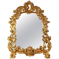 Early 18th Century Italian Cartouche-Shaped Giltwood Mirror