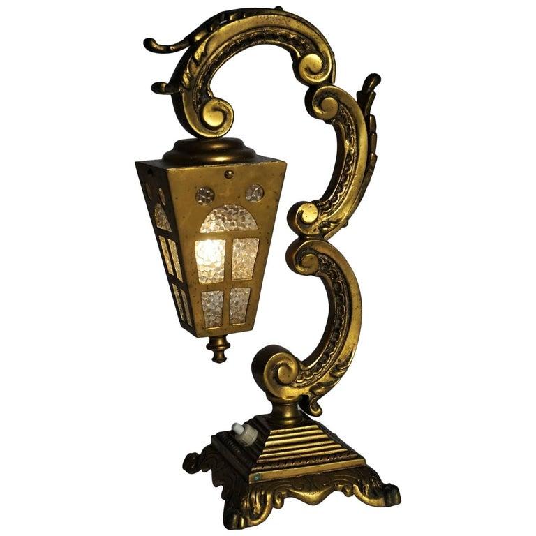 French Art Nouveau Bronze Lantern Table Lamp, circa 1900