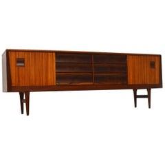 1960s Zebrano and Walnut Vintage Sideboard