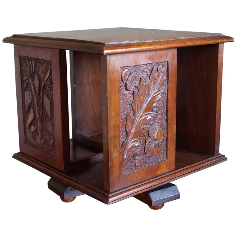 Antique and Hand-Carved 19th Century Mahogany Desk or Table Revolving Bookcase