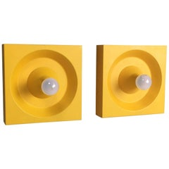 Set of Two Yellow Pop Art Wall Lights by Klaus Hempel for Kaiser Leuchten, 1970s