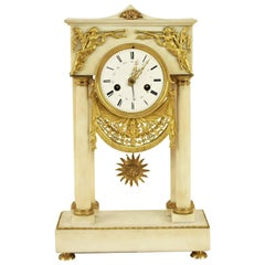 French Empire Alabaster Portico Clock with Ormolu Mounts