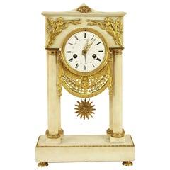 French Empire Alabaster Portico Clock with Ormolu Mounts