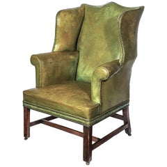 George III Mahogany Wing Back Library Armchair