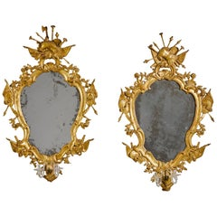 Pair of 19th Century Venetian Rococo Giltwood Mirrors