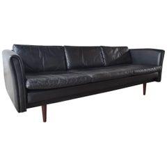 Black Leather Danish Sofa 1960