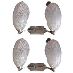 Art Deco Pair of Double Wall Lights Scones with Shell Glass Chrome Fitting