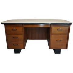 Teak Executive Desk French Design from the 1950s Art Deco Style