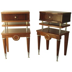 Art Deco Pair Nightstands or Side Tables Mahogany and Brass
