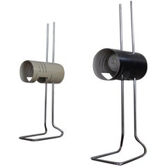 Black and White Cylindrical Vintage Desk Lamps 1960s
