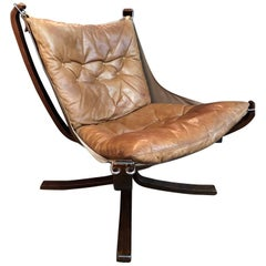 Vintage Low Back Black Leather Falcon Chair Designed by Sigurd Resell