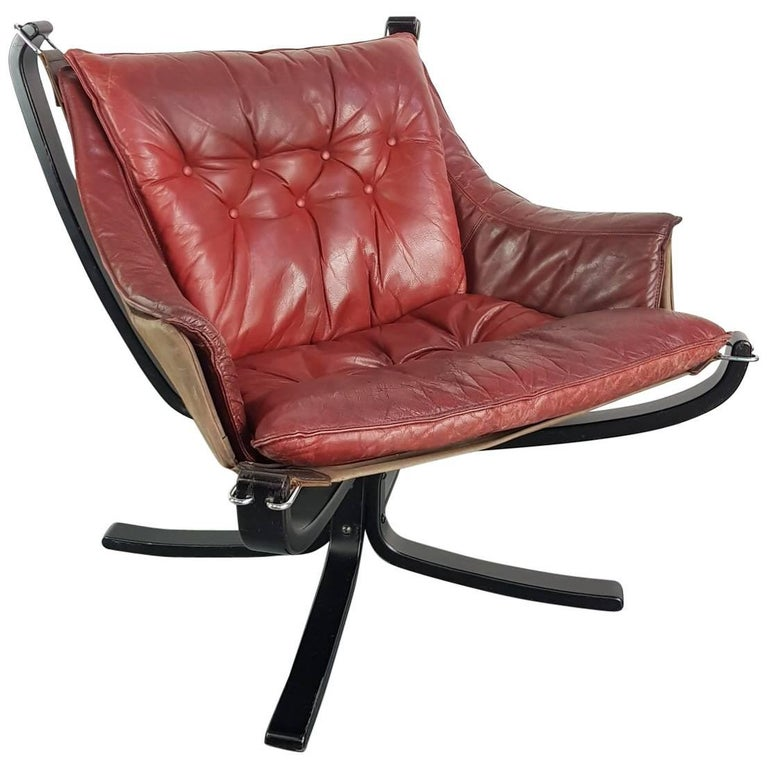 Low Back Winged Chestnut Brown Leather Falcon Chair Designed by Sigurd Resell